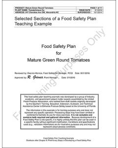 Model Food Plan - Mature Green Round Tomatoes For 5 Participants